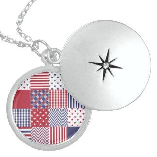 USA Americana Patchwork Red White & Blue Round Locket Necklace