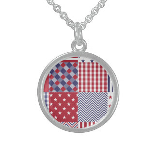 USA Americana Patchwork Red White & Blue Round Pendant Necklace