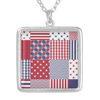USA Americana Patchwork Red White & Blue Silver Plated Necklace