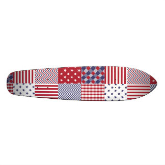 USA Americana Patchwork Red White & Blue Skateboard Deck