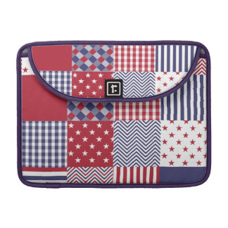 USA Americana Patchwork Red White & Blue Sleeve For MacBooks