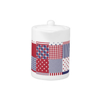 USA Americana Patchwork Red White & Blue Teapot
