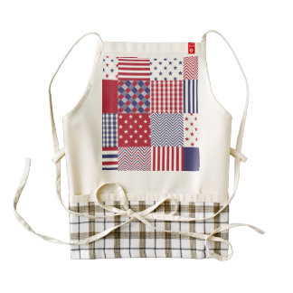 USA Americana Patchwork Red White & Blue Zazzle HEART Apron
