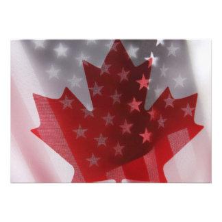 USA and Canada flags invitation