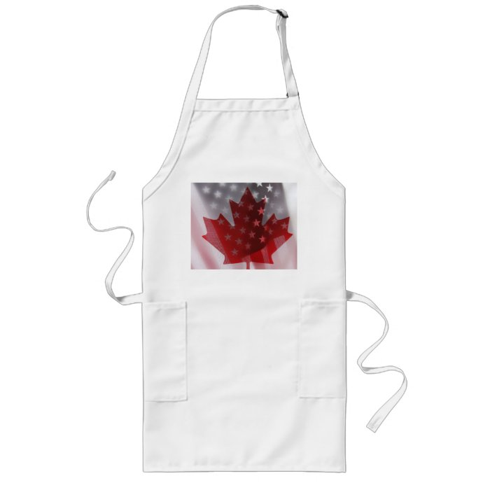 USA and Canada flags long apron