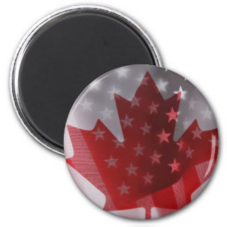 USA and Canada flags magnet round