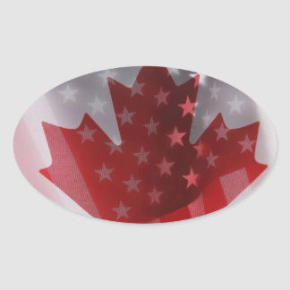 USA and Canada flags oval stickers