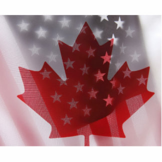 USA and Canada flags photo sculpture small