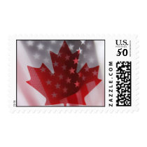 USA and Canada flags postage stamp