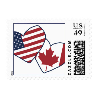 USA and Canada Heart Flags Postage