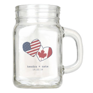USA and Canada Heart Flags Wedding Favor Mason Jar