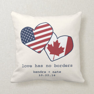 USA and Canada Heart Flags Wedding Throw Pillow