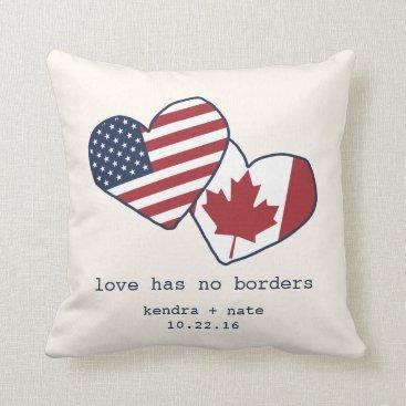 RedwoodAndVine USA and Canada Heart Flags Wedding Throw Pillow