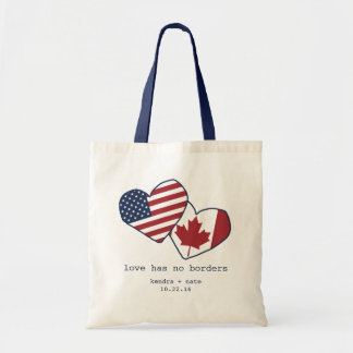 USA and Canada Heart Flags Wedding Tote Bag