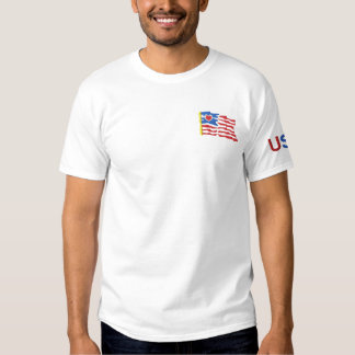 USA and Flag Embroidered T-shirt