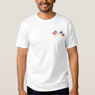 Usa and France Embroidered T-Shirt