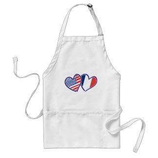 USA and France Love Hearts Apron