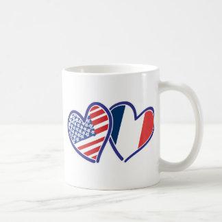 USA and France Love Hearts Mug