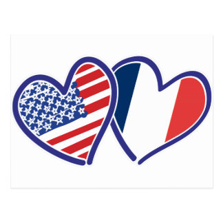 USA and France Love Hearts Post Cards