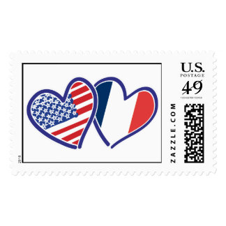 USA and France Love Hearts Postage