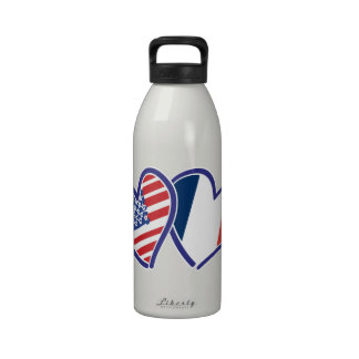 USA and France Love Hearts Reusable Water Bottle