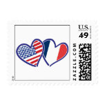 USA and France Love Hearts Stamp