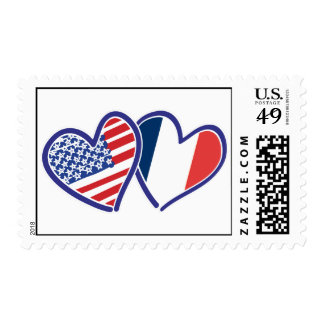 USA and France Love Hearts Stamps