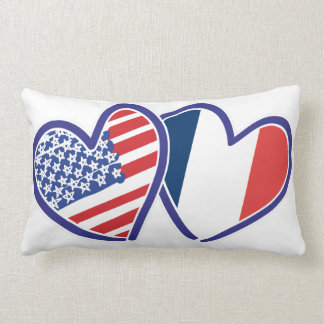 USA and France Love Hearts Throw Pillows