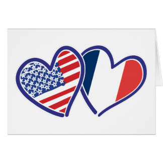 USA and France Patriotic Flag Hearts Cards