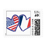 USA and France Patriotic Flag Hearts Postage