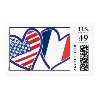 USA and France Patriotic Flag Hearts Stamps
