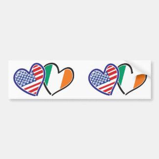USA And Ireland Patriotic Love Hearts Bumper Sticker