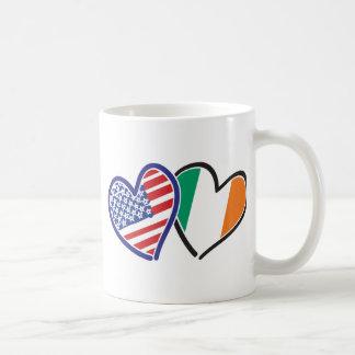 USA And Ireland Patriotic Love Hearts Coffee Mugs