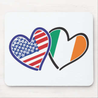 USA And Ireland Patriotic Love Hearts Mousepad