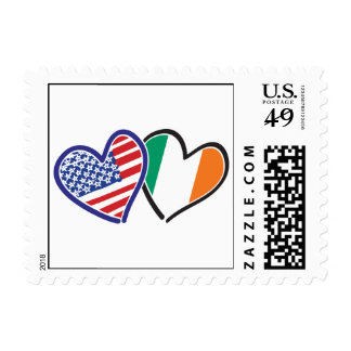 USA And Ireland Patriotic Love Hearts Stamp