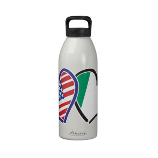 USA And Ireland Patriotic Love Hearts Reusable Water Bottle