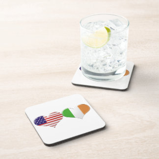 USA and Irish Heart Flags Beverage Coasters