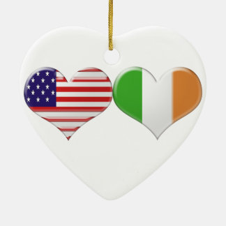 USA and Irish Heart Flags Ceramic Ornament
