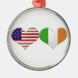 USA and Irish Heart Flags Metal Ornament