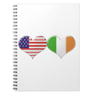 USA and Irish Heart Flags Notebook