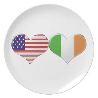 USA and Irish Heart Flags Plate