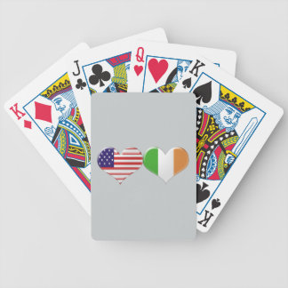 USA and Irish Heart Flags Bicycle Playing Cards