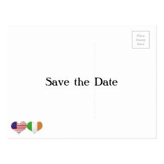 USA and Irish Heart Flags Postcard