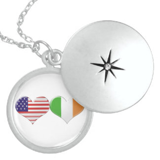 USA and Irish Heart Flags Round Locket Necklace