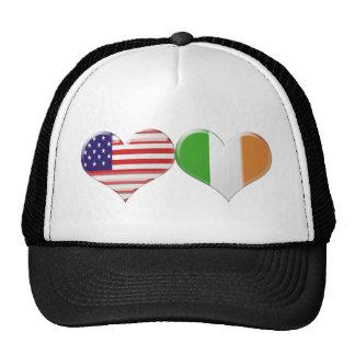 USA and Irish Heart Flags Trucker Hat