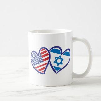 USA and Israel Heart Flag Coffee Mug