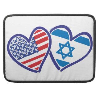 USA and Israel Heart Flag MacBook Pro Sleeves