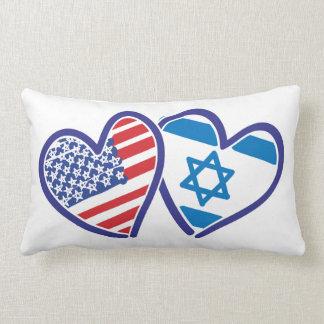 USA and Israel Heart Flag Pillow