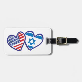 USA and Israel Heart Flag Tags For Bags