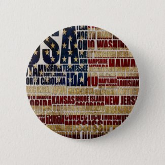 USA and its states in Stars and Stripes Button